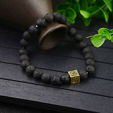 Men Womens Lucky Lava Stone Yoga Energy Wrist Mala Square OM Beaded Bracelets