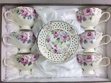 Coffee/Tea Set Of 12 Pieces Bone China White & Lilac Floral Design