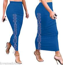 BASIC Tight Slim Fitted bodycon Casual Club Tube PENCIL Long Skirt Dress Blue XL