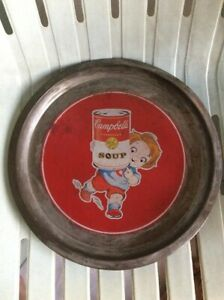 CAMPBELL SOUP KIDS COLLECTIBLES VINTAGE ADVERTISING RARE STAINLESS STEEL TRAY