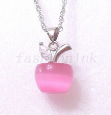 925 Solid Silver hallmark Big Pink Cat's Eye Apple Necklace Pendant with Chain