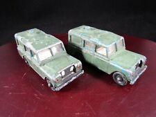 "2 x Vintage Matchbox Lesney Land Rover Safari No 12 – Painted OD Green ~2.75"" L"