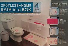 Ginsey Toilet Seat, Waste Bin, Bath Mat & Rug Set (4pc) Pink Floral A744