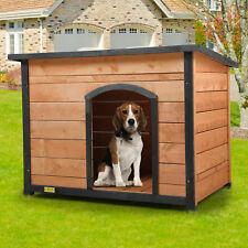 Wood Dog House Weatherproof Slant-Roofed Dog Kennel Open Entrance Outdoor Yellow