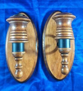 2 Wood/Metal Wooden Oval Candle Holders Wall Sconces Mid Century Farm House
