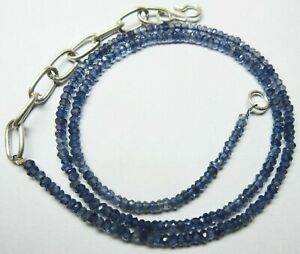 """Natural Iolite Necklace Micro Faceted Rondelle Beads 19.5""""Inch - 3 to 4mm - S111"""