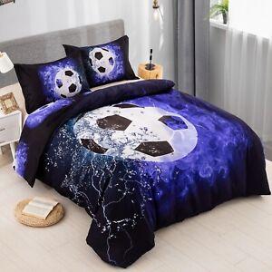 Soccer Blue Duvet Cover Set Twin Queen King Size Bed Pillowshams Football New