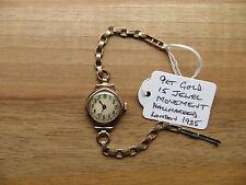 Macizo 9 ct oro rosa entubado 15 Joya Reloj De Cóctel. 1935 de Londres completamente reparado