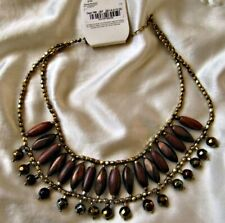 FSC Ethnic Egyptian style statement chunky beaded necklace brown shiny gold