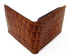 Dark Brown Croc PRINT Embossed MENS LEATHER BIFOLD MEN'S WALLET FLAP TOP 10 CARD