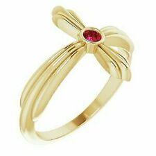 Ruby Sideways Cross Ring In 14K Yellow Gold