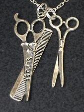 "Hair Stylist Salon Scissors Large Charm Tibetan Silver 18"" Necklace B237 BIN"
