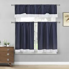 Tie Up Solid Textured Design with White Border Kitchen Curtains 3 Piece Set