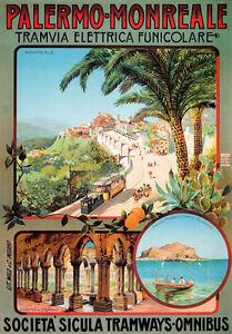 TX100 Vintage Palermo Monreale Italy Italian Railway Travel Poster Re-Print A4