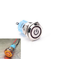 16mm 12V Red LED Power Push Button Switch Aluminum Metal Latching Waterproof EB