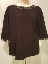 CHARTER CLUB Shirt Tunic Top Pearl Embellished 3/4 Sleeve Plus Size 1X Black