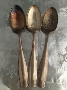 """❤️3 Antique Spoons Silver plated Unmarked Large Hotel Serving 8.24"""" EUC"""