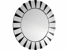 Round Bevelled silver and black Wall Mirror Art Deco Mirror Large 90x90cm