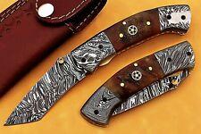 Damascus Handmade Pocket Knife Hunting Sharp Blade FOLDING with Leather Sheath