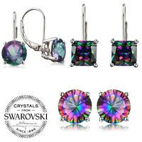Mystic Silver Plated Cut Rainbow Topaz Stud Earrings Womens Gift