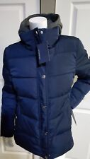 NEW Women TOMMY HILFIGER HOODED QUILTED AND PUFFER NAVY COAT SIZE M