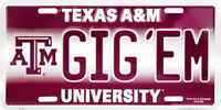 TEXAS A&M GIG 'EM EMBOSSED METAL NOVELTY LICENSE PLATE TAG
