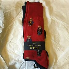 Brand New Ralph Lauren Polo Bear Solid Socks 2-Pair Red Blue Limited Authentic