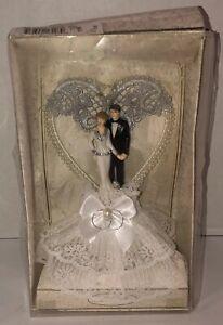 Vintage LILLIAN ROSE White Cake Topper Pearls Bride Groom Couple 25th Heart NEW