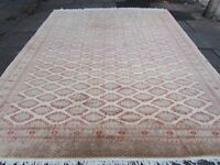 Old Traditional Hand Made Pakistan Oriental Wool Cream Large Carpet 360x282cm