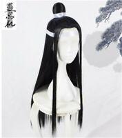 The Untamed Lan Wangji Wig Long Hair Haircut Black Cos Props Retro Unisex Gifts