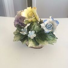 Capodimonte 'N' Vintage Purple Blue Yellow Flowers Made in Italy