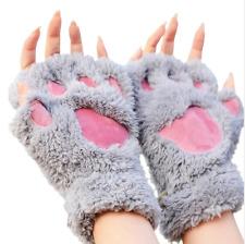 Ladies Winter Fingerless Gloves,Fluffy Bear Cat Plush Paw Claw Half Finger Glove