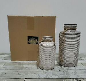 Teresa's Collections - Ceramic Country Rustic Vase - Home Decor - Set of 2