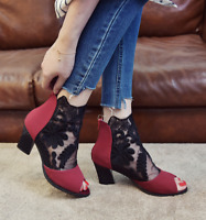 Womens Mesh Peep Toe Sandals Sexy Ankle Boots Sexy Chunky Block High Heel Shoes