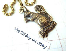 Tree Squirrel Ceiling Fan Pull Chain Antiqued Brass Metal Ball Chain Light Pull