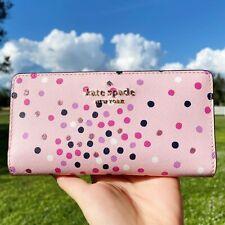 Kate Spade Staci Festive Confetti Glitter Large Slim Bifold Wallet Pink Dot