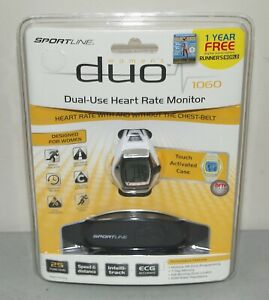 """New! Sealed! Womens SPORTLINE """"Duo- 1060"""" HEART RATE MONITOR & WATCH 25 Function"""