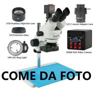 MICROSCOPIO STEREOSCOPICO TRINOCULARE 7X 45X EAKINS HDMI COMPLETO FATTURABILE