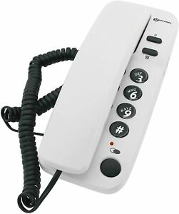 Corded Office Telephone Wall Mounted Desk Landline Home Big Buttons White Phone