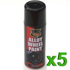 5 X 200ml satin noir jante en Alliage Spray CAN-BUS RESTAURATEUR AUTO MOTO AUTO