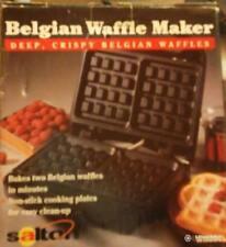 Salton Belgian Waffle Maker Black Electric Non-Stick Vtg NIB