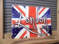 VINTAGE RETRO STYLE METAL WALL SIGN PLAQUE *UNION JACK - LONDON FABULOUS!