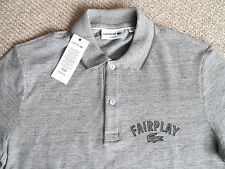 """SMALL 35-37"""" LACOSTE FairPlay Carbon Grey Polo Shirt Mens TAGS 3 New Tags"""