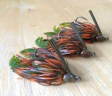 3 Custom Bass Swim Jigs (Hot Craw) 3/8 oz