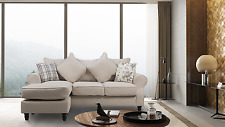 New St. Tropez Stallion Fabric Corner Sofa With Reversible Chaise Ivory / Cream