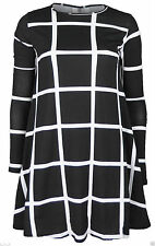 Womens Ladies Long Sleeve Midi A-Line Checked Swing Skater Dress Flared Grid
