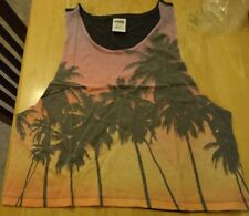 Victoria's Secret  pink ombre sunset Palm Tree tropical Cropped Tank Top in bag