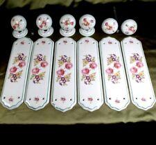 More details for vintage set 6 porcelain door knobs handles & finger plates pushes floral flowers