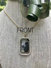 Healing & Protection Locket On Gold Plate Chain - Black Tourmaline And Selenite