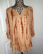 Vintage America Sepia Tan Hand Tie Dyed Roll Up Sleeves Applique Top Size M NWT
